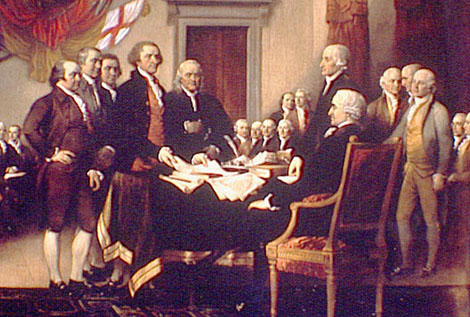 John Hancock signing the Declaration of Independence